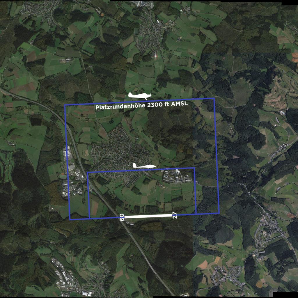 Hier siehst du die Platzrunden des Flugplatzes Hünsborn über eine Satellitenaufnahme gelegt.